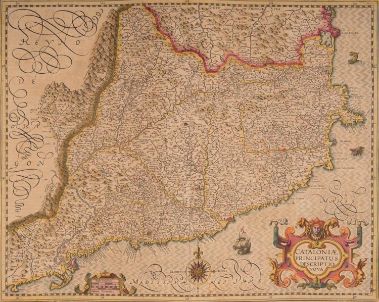 ESPAGNE Catalogne. Catalonia principatus descriptio nova 49 x 38,5 (Rose, navire monstres marins) Carte très détaillée, beau cartouche.