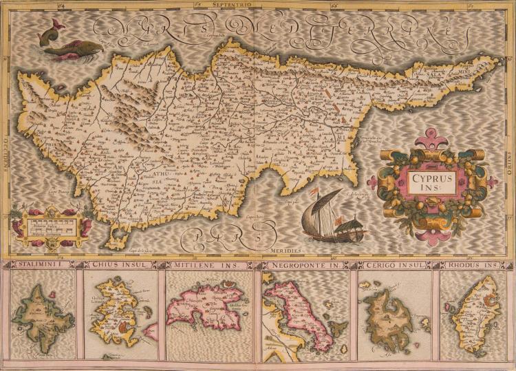 CHYPRE   Cyprus ins. 49 x 35 (Navire et montre marin) Avec 6 îles en cartons : Stalimna, Chius, Mi   - tilene, Negroponte, Cerigo, Rhodus. Bel exemplaire de cette carte très décorative.