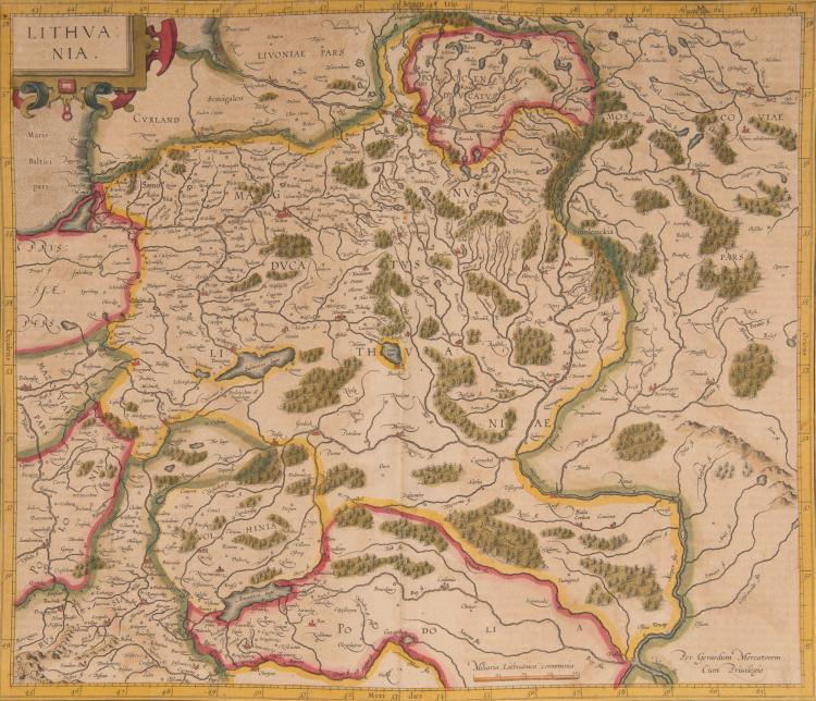 ETATS BALTES 2 cartes - Lithuania 43,5 x 37 - Livonia (Lettonie et Estonie) 47 x 36