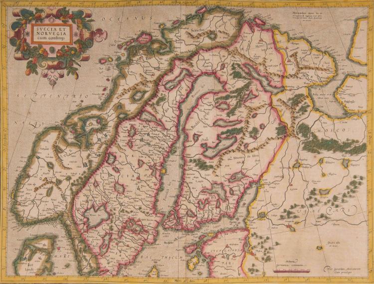 SCANDINAVIE   Suecia et Norvegia cum confinis (Suède, Norvége, Finlande, Baltique, Russie) 48 x 35,5 Beau cartouche.