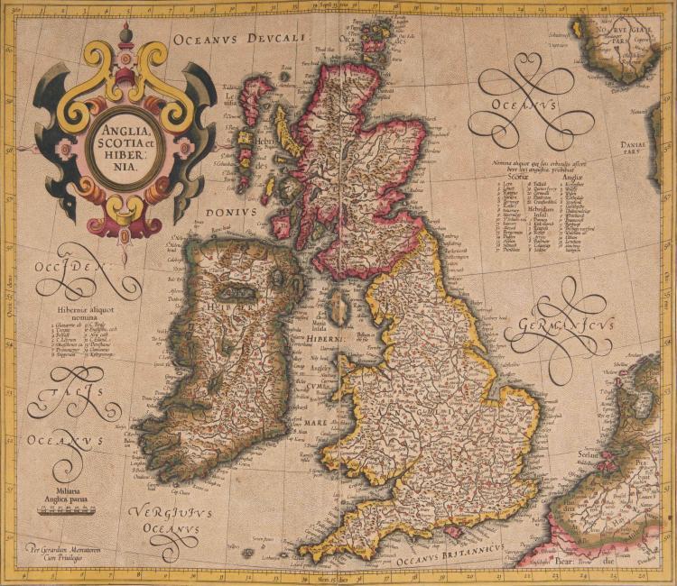 ILES BRITANNIQUES   Anglia, Scotia et Hibernia 41 x 33 (plis)