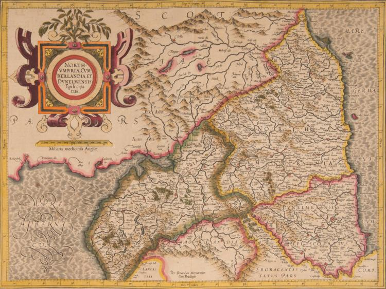 ANGLETERRE 5 cartes couvrant toute l'Angleterre.Cartouche très décoratif sur chaque carte. Bel ensemble - Northumbria, Cumberlandia.... 46 x 35 - Westmorlandia, Lancastria, Cestria... cum insulis Mania et Anglesey 41 x 36 (monstre marin) - Eboracum, Lincolnia, Derbia... Lecestria... Norfolcia 41,5 x 35 - Cornubia, Devonia, Somersetus... Gloces - tria....Penbrok, Cardigan... Herefordia... 46 x 36,5 -Warwicum, Northamptonia, Huntingdonia, Cantabriga, Suffolcia, Oxonium....Essexia.... Middelsexia, Southamptonia... Cantum... 46,5 x 37