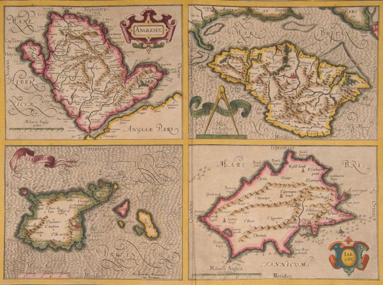 LES ANGLO-NORMANDES   4 petites cartes : Anglesey, Wight, Garnesey, Iarsay. 43 x 31,5