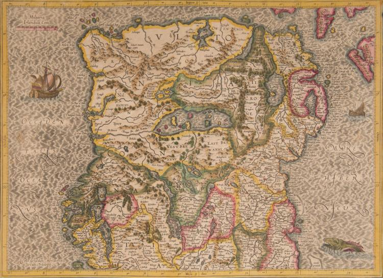 LES ANGLO-NORMANDES   Irlande   2 cartes couvrant toute l'Irlande (Eire + Ulster)      - Partie Nord 47x34 (navires, monstre marin)    - Partie Sud (Irladia regnum) 47 x 34 Irlandia regnum 41 x 32,5