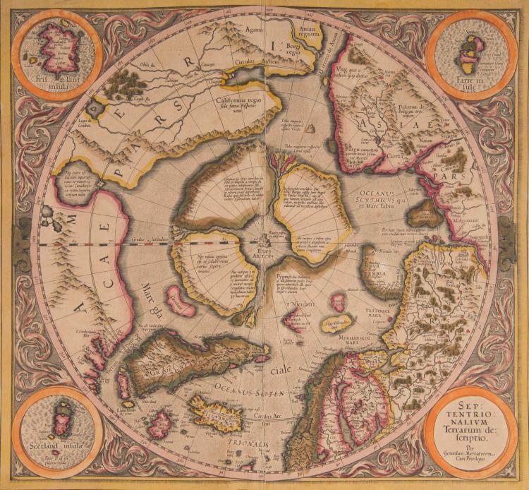 REGIONS POLAIRES. POLE NORD.   Septentrionalium terrarum descriptio 39 x 36,5 (pli) Avec 3 petites cartes d'îles dans les angles (Frislant, Farre ins., Scetland ins.)   Une des cartes parmi les plus célèbres des régions polaires.