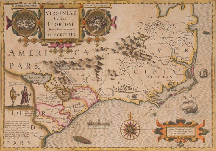AMERIQUE   Virginie.   Virginiae item et Floridae Americae provin   - ciarum, nova description 48 x 33,5 (Navires, pirogue monoxyle, monstres marins. Rose. Personnages et 2 villages indiens)   Très belle carte, décorative et recherchée.