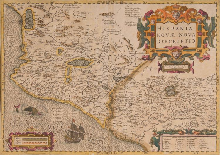 AMERIQUE Mexique. Hispaniae Novae nova descriptio 47,5 x 34,5 (Navire, monstre marin) Beau cartouche. Bel exemplaire.