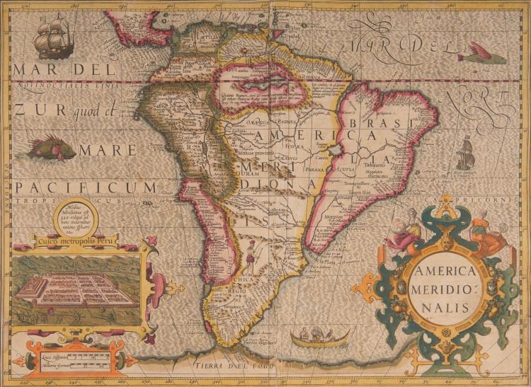 AMERIQUE   Amérique du Sud.   America meridionalis 48,5 x 35,5 Vue de Cuzco (Navires, monstres marins, pi   - rogue de Fuégiens, personnage en Patagonie) Carte très décorative.