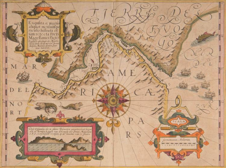 AMERIQUE   Détroit de Magellan.   Cartouche aux pingouins.Vue du détroit. Rose. Navires, phoques. 46 x 34