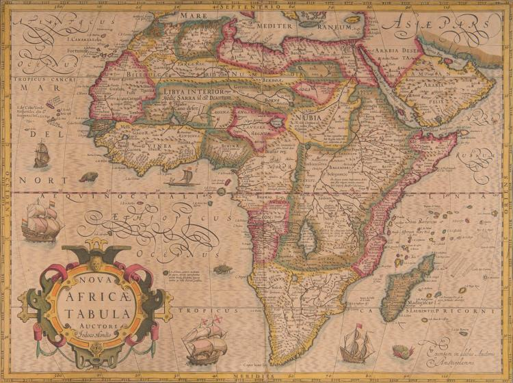 AFRIQUE   Nova Africa tabula Auctore Iodoco Hondio 50 x 37 (Navires, monstres marins)