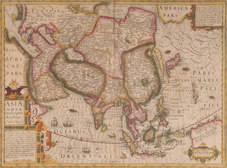 ASIE   Asiae nova descriptio Auctore Iodoco Hondio 49,5 x 37 (pli) (Navires, monstres marins)