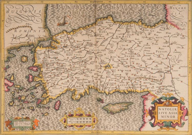 TURQUIE ET MOYEN-ORIENT 2 cartes - Turquie/Natoliae sive Asia minor 48 x 34 Navire, monstre marin - Moyen Orient, Arabie Turcici Imperii Imago 48 x 35,5 Beau cartouche au sultan