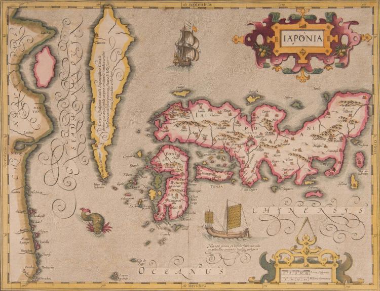 JAPON (COREE) Iaponia 44 x 34 (Navires dont une jonque, monstres marins).