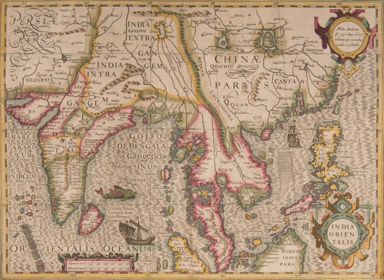 INDES, CEYLAN cartes - India orientalis 48x35 (Navires, monstre marin) Indes, Asie Sud-Est, Philippines - Ins. Ceilan quae incolis Tenarisin dicitur 50x34,5 Rose, navire, saynète avec éléphant.