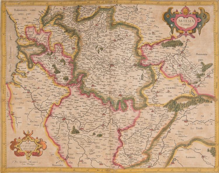 FRANCE Artois. Boulonnais. 2 cartes. Artesia comitatus 45 x 35. Bolonia et Guines comitatus (Calaisis) 1/2 feuille 25 x 32