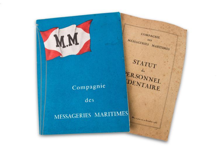 Compagnie des Messageries Maritimes 2 fascicules : statut des personnels et histo - rique de la compagnie.