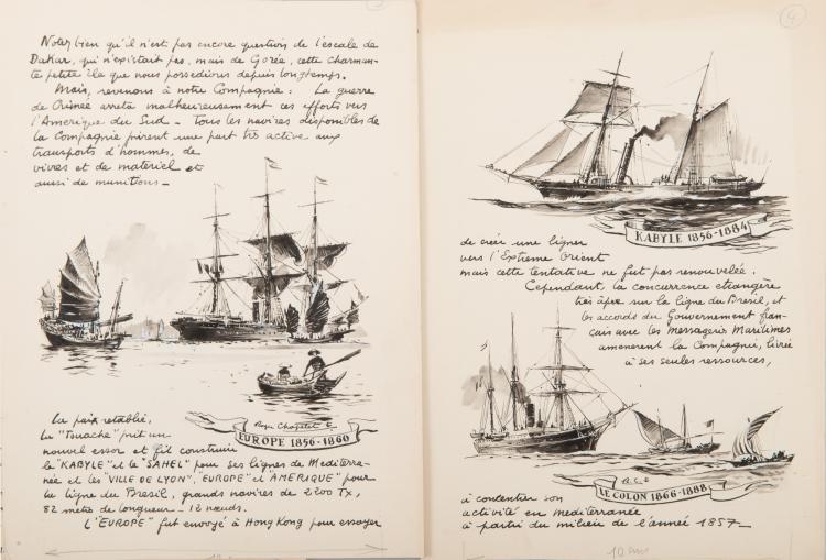 CHAPELET Roger Le Tremblay, 1852, L'Atlas, 1852-1863, Le Rhumel, 1854-1858, l'Europe, 1856-1860, Le Kabyle, 1856-1884, Le Colon, 1866 - 1888 4 Encres de Chines, 30 x 22 cm. Signé ou monogrammé.