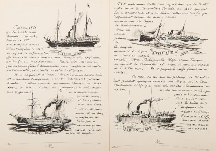 Parties d'un manuscrit illustré sur l'histoire de la compagnie Touache et de la Compagnie de Navigation Mixte :