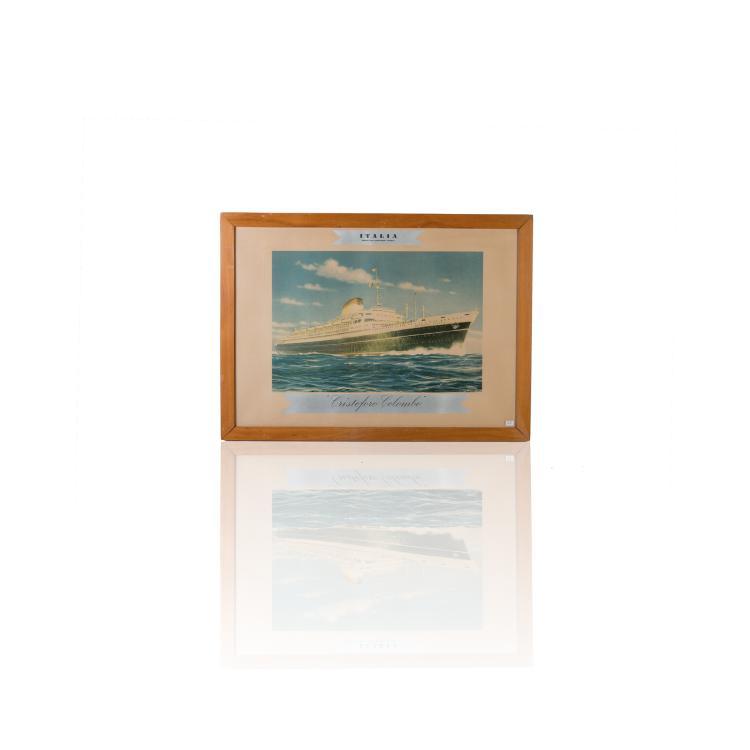Paquebot «LOTUS» Gouache. Signée L.Conte. 44 x 56 cm.
