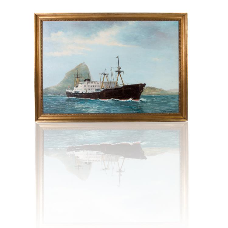 C. Ankersen   Cargo danois dans la rade de Rio, 1976 Huile sur toile 57 x 83 cm.