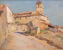 Jean AUBERY (1880-?) Vue d'un village provençal