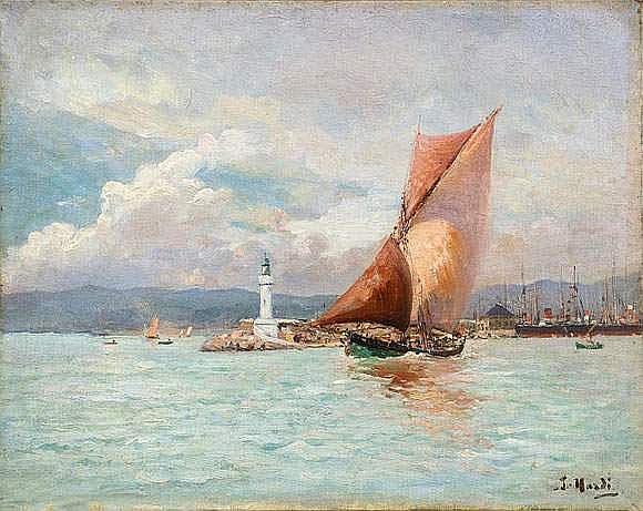 François NARDI (1861-1936). - Voilier sortant du
