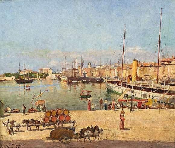 Joseph FAUST (1868-1934). - Le port de Marseille,