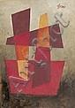 Léon GISCHIA (1903-1991)  Composition.  Huile sur toile.  Signée en haut à droite.  Contresignée et datée 75 au dos.  55 x 38 cm., Léon Gischia, Click for value