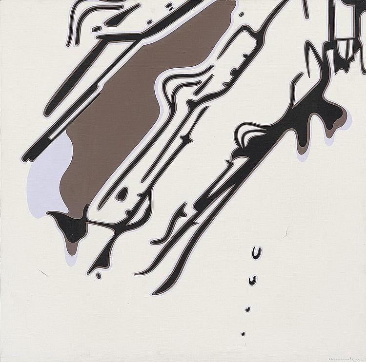 Plinio MESCIULAM (né en 1926)  Congegno A, 1971.  Huile sur toile.  Signée en bas à droite. Titrée, signée au dos et datée.  70 x 70 cm