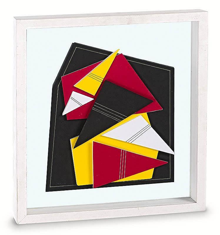Pepe CACERES (né en 1941)  Composition abstraite, 2007.  Peinture, papier et collage.  Signé.  46 x 35 cm.