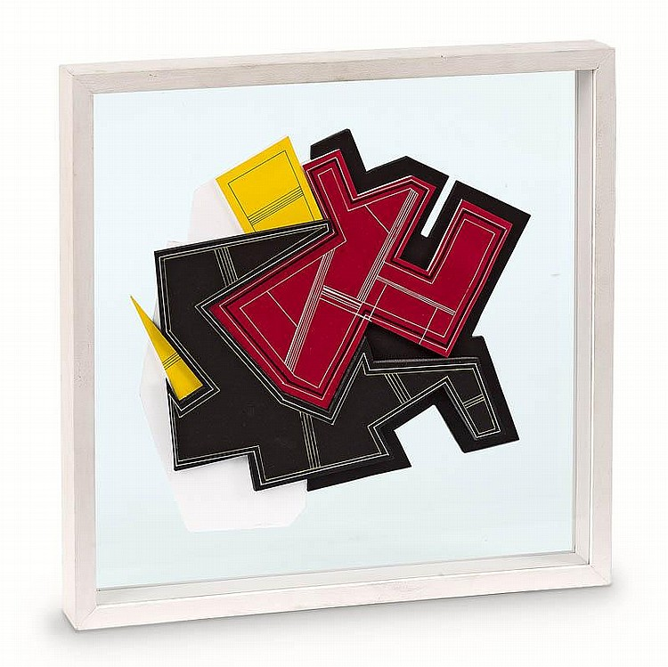 Pepe CACERES (né en 1941)  Composition abstraite, 2007.  Peinture, papier et collage.  Signé.  46 x 46 cm.