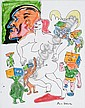 Felt pens on paper, signed, by Daniel Johnston, Daniel Johnston, Click for value