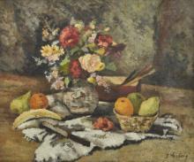 LÉON WEISSBERG (1893-1943) Nature morte aux fruits et aux fleurs avec un couteau
