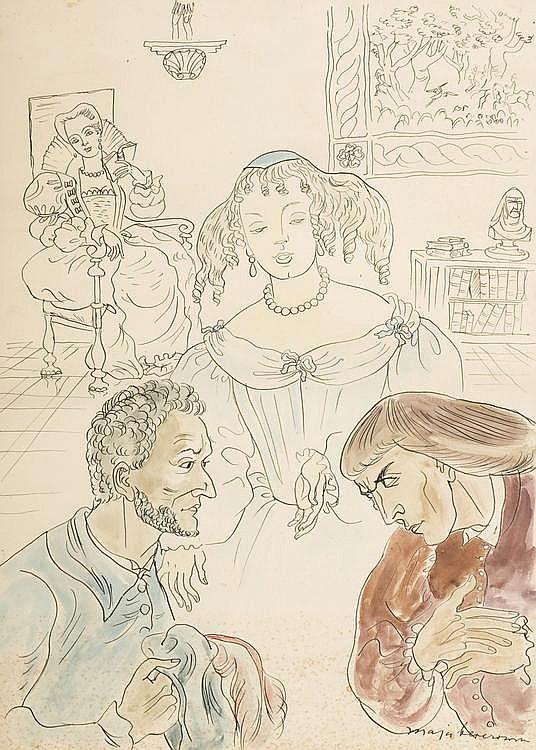 Ink and watercolour by Maja BEREZOWSKA (1898-1978)