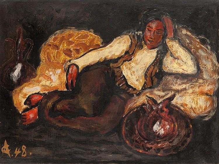 Alexandru CIUCURENCU (1903-1977)  Hommage à Matisse.  Huile sur carton. Monogrammée et datée 49  en bas à gauche. 28 x 35 cm.