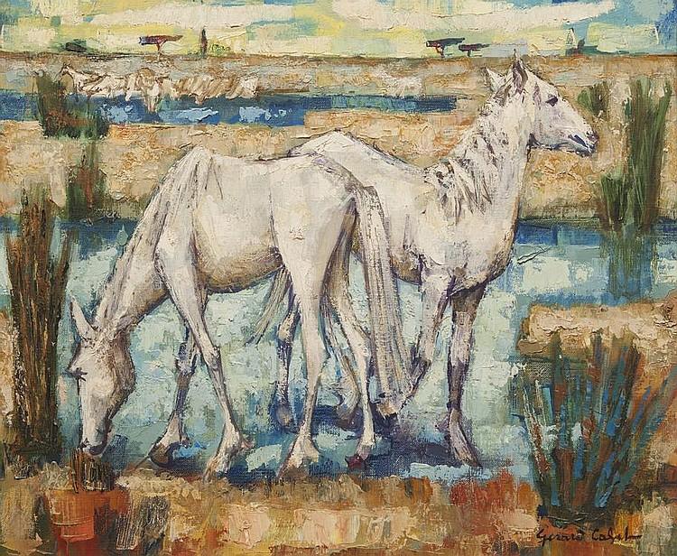 Gérard CALVET (1926)  Chevaux en camargue.  Huile sur toile. Signée en bas à droite.  54 x 81 cm.