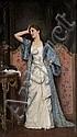 Auguste TOULMOUCHE (1829-1890) Jeune femme dans un intérieur. Huile sur toile. Signée en bas à droite. 83 x 48 cm.