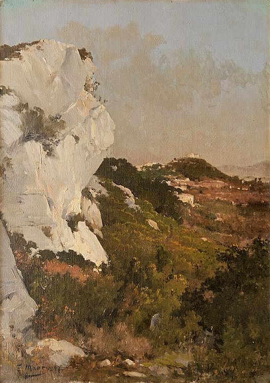 François MAURY (1861-1933)  Paysage.  Huile sur toile. Signée en bas à gauche.  46 x 32 cm.B160