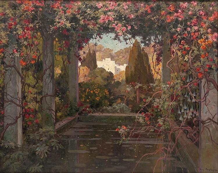 Eugène François A. DESHAYES (1868-1939)  Jardin fleuri en Afrique du Nord.  Huile sur toile. Signée en bas à droite.  79 x 66 cm.