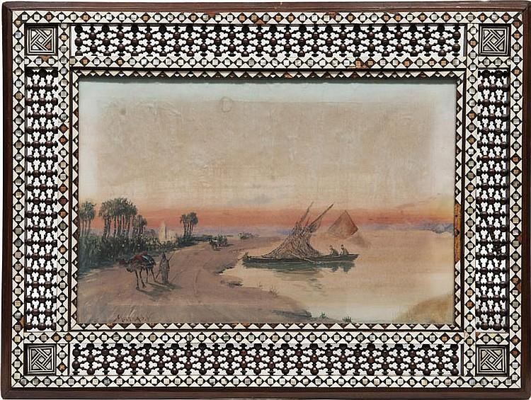 Vincent Manago (1880-1936)  Paysage orientaliste.  Paire de gouaches et aquarelles dans des cadres  en bois sculptés et ajourés. Signées. 38 x 60 cm.