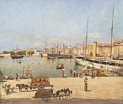 Joseph FAUST (1868-1934) - Le port de Marseille,