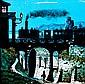 ANONYME Chemin de fer de Lyon à Marseille, c. 1850. Plaque pour lanterne de projection à décor d'encre et couleurs. Un système de tirette permet de faire coulisser dans un châssis en bois noirci une plaque de verre décorée d'un train à vapeur pour le