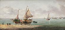 M. MAX (fin XIXème siècle) Les pêcheurs sur la plage. Huile sur panneau.