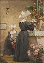 Louis ADAN (1839-1937) Deux religieuses décorant un autel. Huile sur carton.