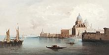 A. RUEFF (XIXème) La Salute à Venise. 1886. Huile sur panneau.