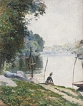 Emile Charles DAMERON (1848-1908) Personnage près de la Seine. Huile sur toile.