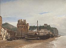 Jules COIGNET (1798-1860) Bateaux sur une plage. Huile sur toile.