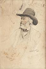 Walter GREAVES (1846-1930) Portrait de Thomas Carlyle. 1870. Dessin et pastel.
