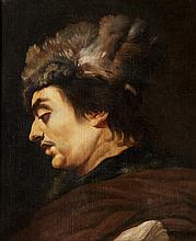 Claude VIGNON (Tours 1593 - Paris 1670) Portrait d'homme, profil gauche coiffé d'une toque en fourrure. Sur sa toile d'origine.