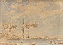 Paul GUIGOU (1834-1871) Pêcheurs sous les pins. Aquarelle.